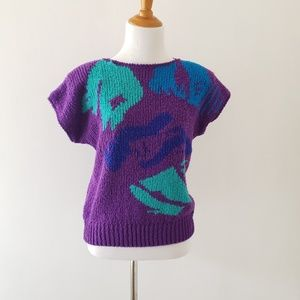Vintage 80s abstract print purple slouchy sweater